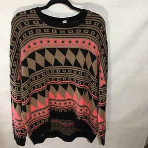 BDG Aztec print oversized sweater, size: medium
